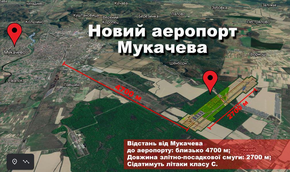 В Мукачеві місце майбутнього аеропорту показали з висоти пташиного польоту